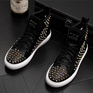 Image 1 - England style mens casual punk stage dress genuine leather rivet shoes young teenage ankle boots platform bota masculina sapatos