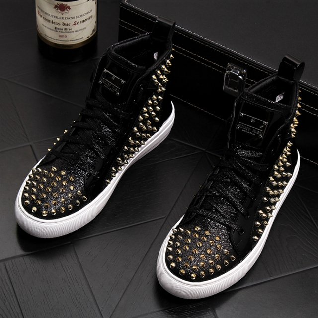 England style mens casual punk stage dress genuine leather rivet shoes young teenage ankle boots platform bota masculina sapatos