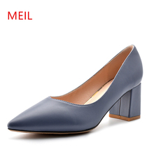 Women Thick High Heels Mary Jane Party Shoes Woman High Heel Ladies Pumps 2019 New Pointed Heels Elegant Work Office Shoes Women цены