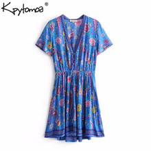 Boho Vintage Bird Floral Print Mini Dress Women 2019 New Fashion V Neck Short Sleeve Summer Beach Dresses Casual Femme Vestidos(China)