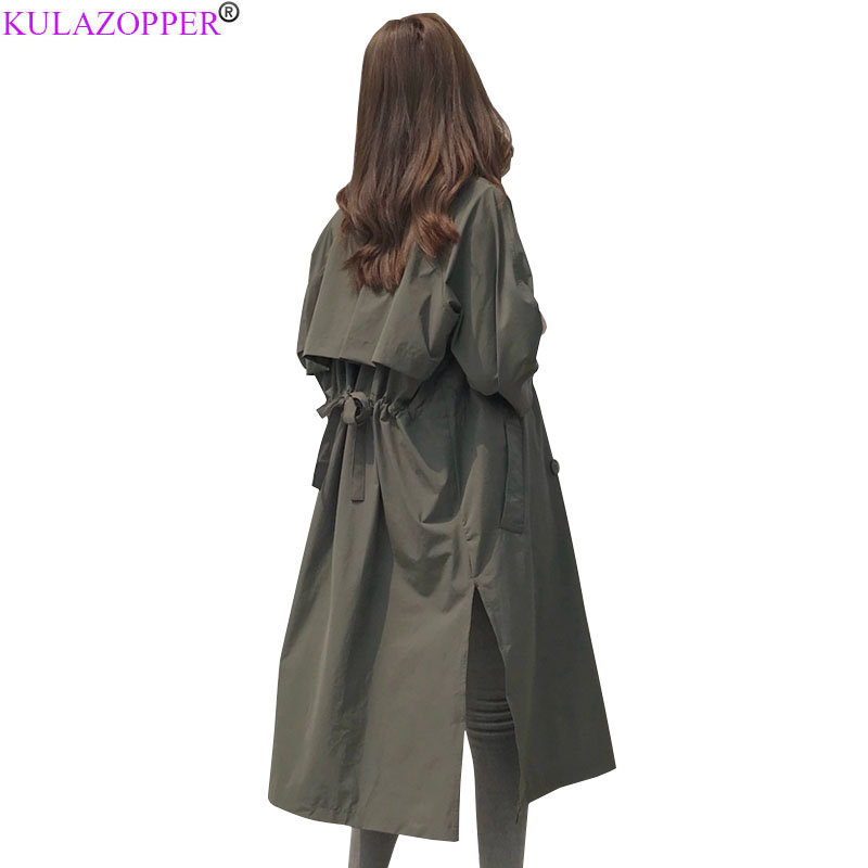 2019 Spring autumn New Vintage Outwear women   Trench   Coat Fashion Patchwork Loose Lace Up Solid Windbreaker Female Clothing ER246
