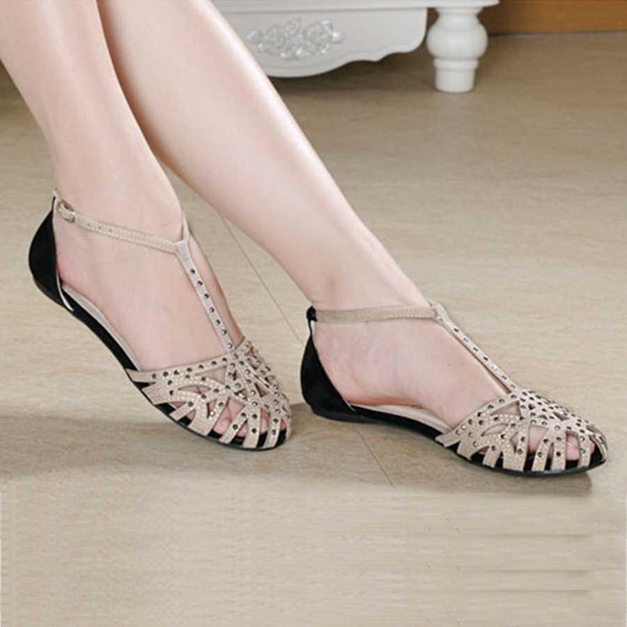 0eb5e59022c ... 2018 fashion women Flat sandals rhinestone cutout summer shoes High  quality closed toe ladies shoes female