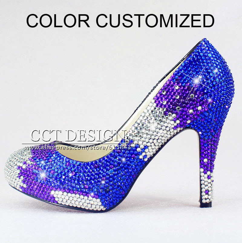 Color customized rhinestone prom shoes crystal royal blue for Blue shoes for wedding dress