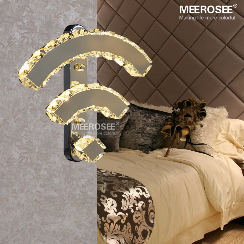 Modern Crystal Wall Lamp Chrome Mirror Finish Stainless Steel LED Wall Light Interior Decoration WIFI Wall Sconces MD81317 nitro triple chrome plated abs mirror 4 door handle cover combo