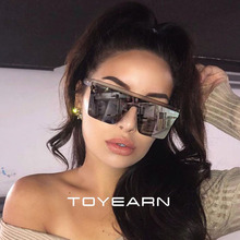 2020 New Oversized Sunglasses Women Big Frame Square Flat Top Rivet Sun Glasses