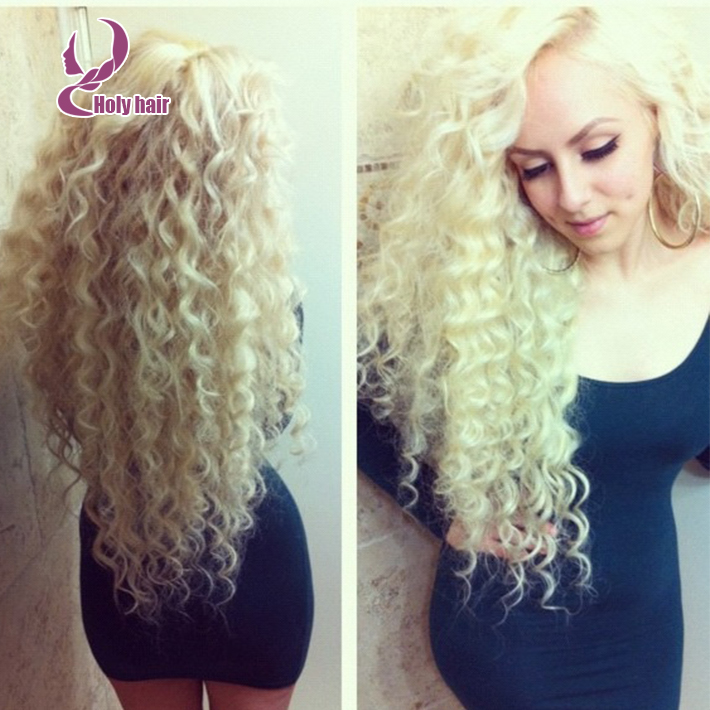 8a Blonde Full Lace Human Hair Wig 200 Density Curly Lace