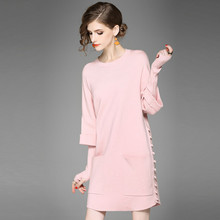 Knitted Sweater Dress Women Winter Beading New Arrival Casual Dress Long Sleeve O neck Elegant Knitted
