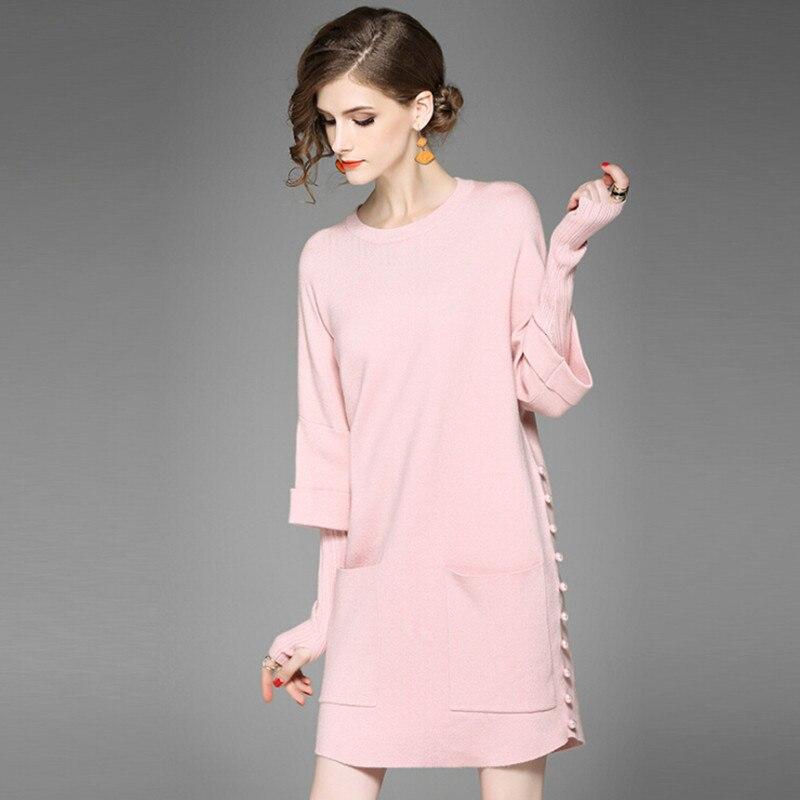 Knitted Sweater Dress font b Women b font Winter Beading New Arrival Casual Dress Long Sleeve