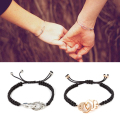 2PCS Hot Selling Handmade Braided Couple Bracelet Silver Handcuffs Bracelets For Women Men Lovers Valentine's Day Gift Pulseras