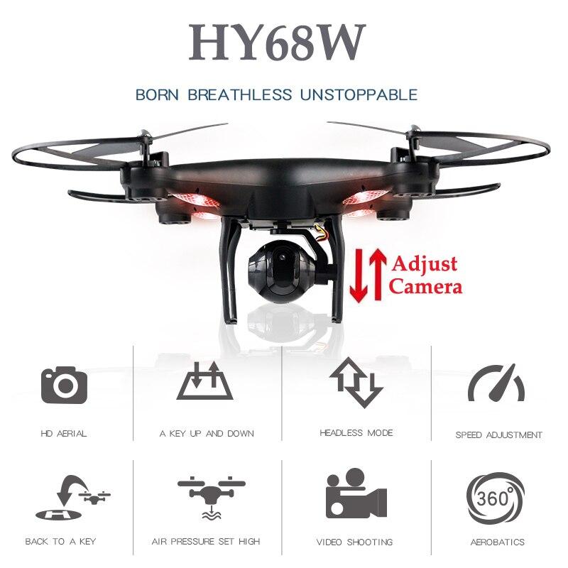 HY68W квадрокоптер с камерой дрон вертолет дрон с камерой квадракоптер с камерой коптер с камерой WI-FI FPV-системы Drone profissional высота держать Квад...