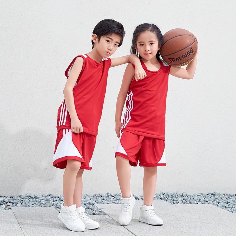 2018 New Arrvial Red Kids Basketball Jersey for Boys Girls Children Trainning Uniforms Student Sports Suits Team Set цены