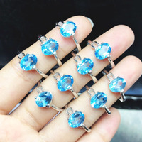 100% 925 Sterling Silver Genuine Blue Topaz Ring Wedding Unique Fine Jewelry Ring for Woman Girls