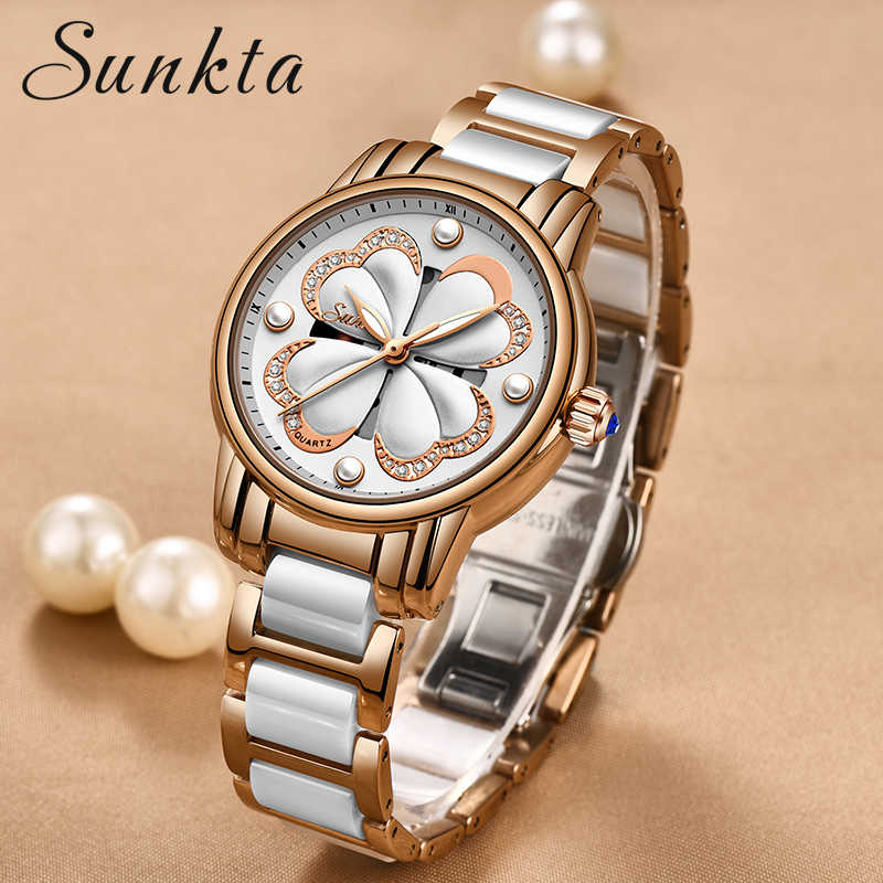 SUNKTA Women Watches Women Full Steel Quartz Clock Top Brand Luxury Female WristWatches Waterproof Ladies Dress relogio feminino