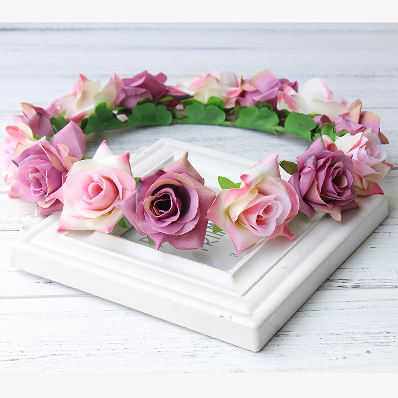 Rose Hair Garland woodland Crown Women Girls Flower Wreath Fixing Prices According To Quality Of Products New Women Retail Princess Headdresses Flower Girl Circlet