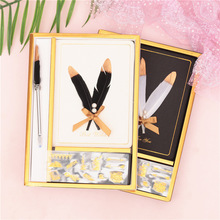 Vinatge Creative Feather Notebook Blank Kraft Schedule Book Diary Weekly Planner Sketch Book School Kawaii Stationery Gift Set creative stationery elegant flower chinese wind diary horizontal line small travel planner diary book notebook dd1358