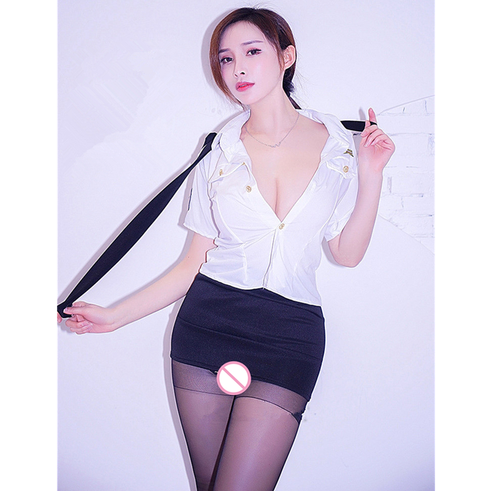 Mature women Hot pink erotic costume air hostess sexy cosplay uniform night club wear Package buttocks short skirt sexy costume in Sexy Costumes from Novelty Special Use