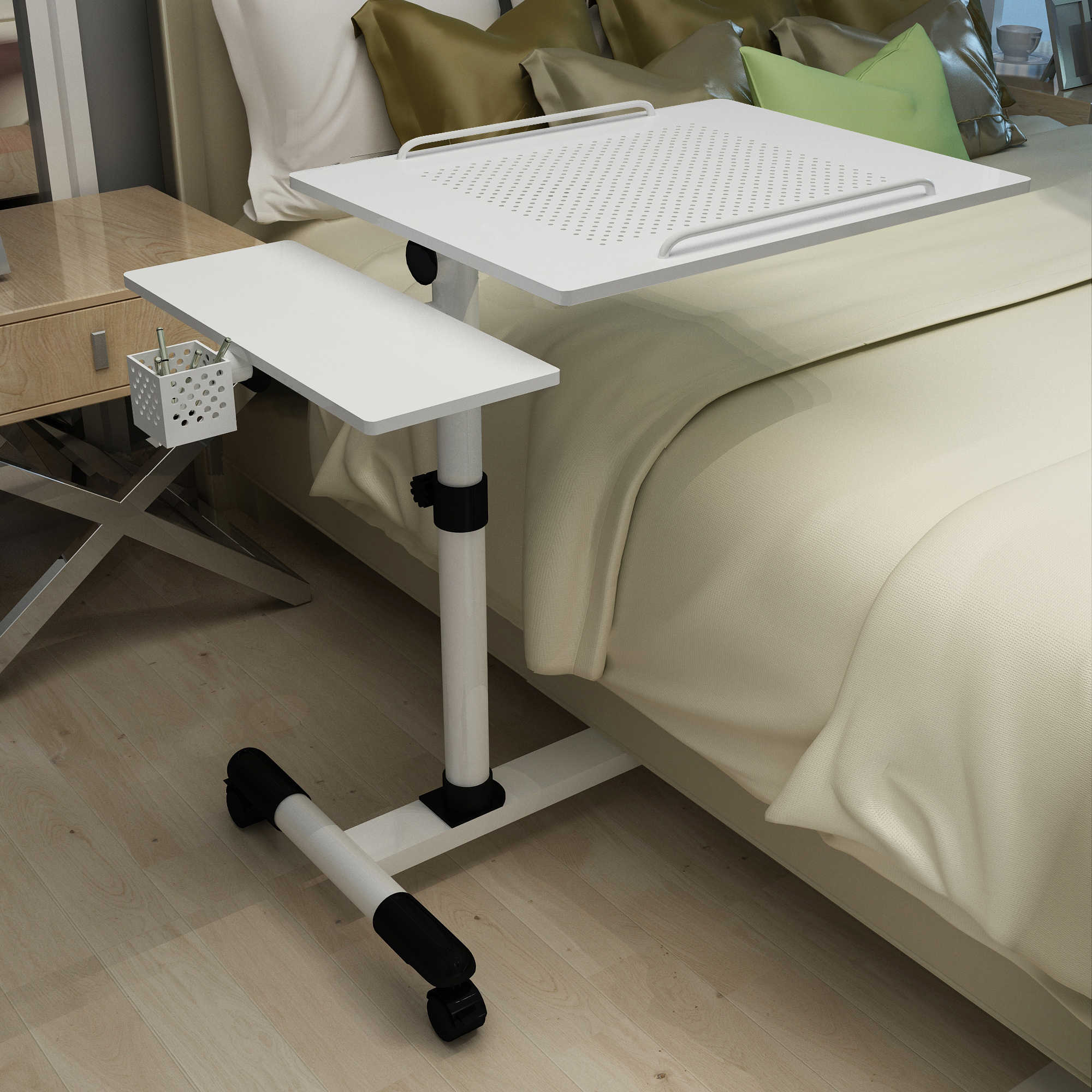 Laptop Table Sofa Bedside Table Overbed Table Adjustable Height Movable  Sturdy Notebook Computer Stand Desk with Wheels