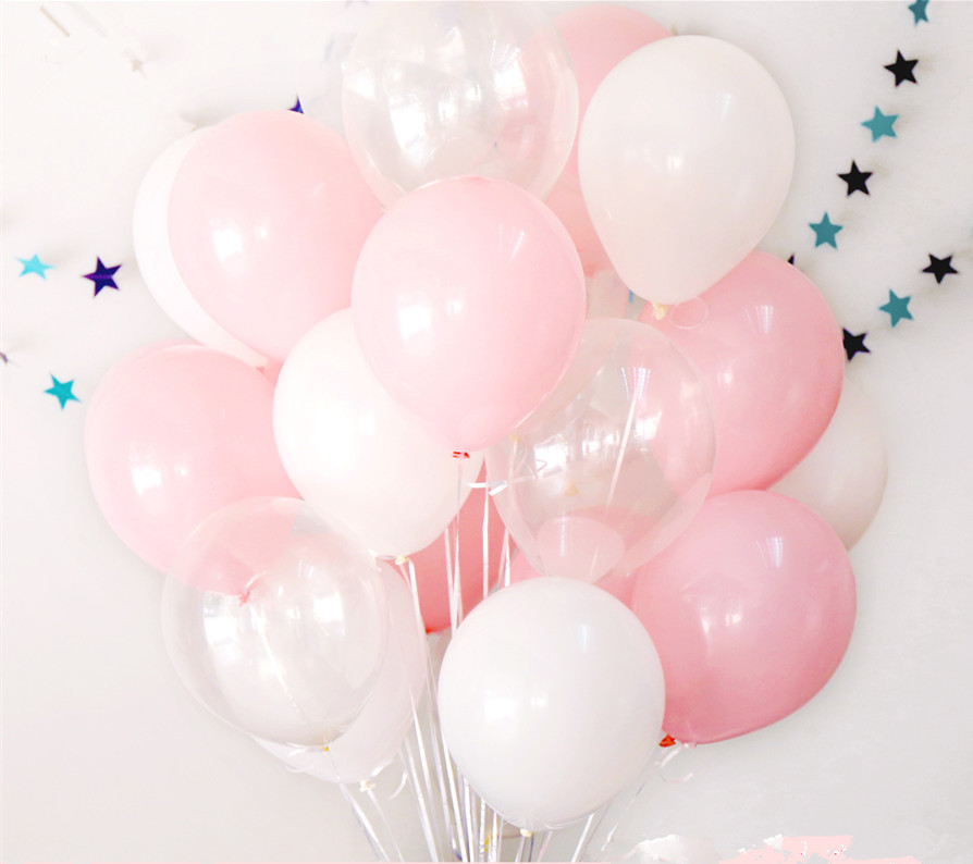 12pcs 2.3g Pink White 2.8g Transparent Balloons Latex Helium Happy Birthday Party Suppli ...