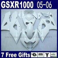 Injection molding bodywork for 2005 suzuki gsxr 1000 fairings K5 2006 kits 05 06 all white motorcycle fairing kits