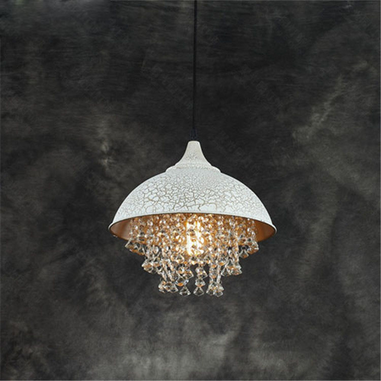 ZX American Retro Crystal LED Pendant Lamp Creative Iron Livingroom Hanging Light Simple Restaurant Bar Clothes