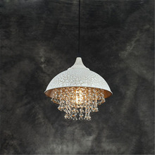 ZX American Retro Crystal LED Pendant Lamp Creative Iron Livingroom Hanging Light Simple Restaurant Bar Clothes Shop Chandeliers