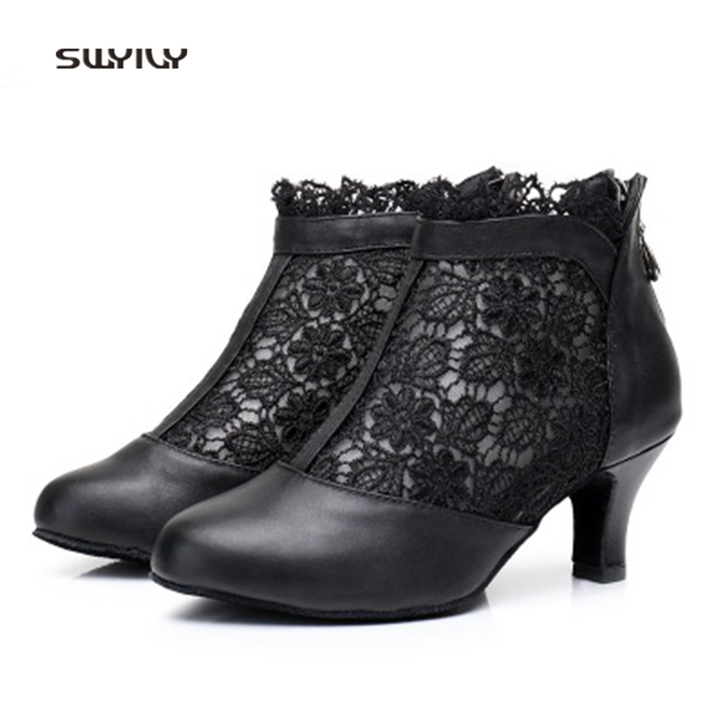 SWYIVY Women Ballroom Dance Shoes Genuine Leather Sailor Dance Boots 2018 Lace Breathable Lady Latin Dance