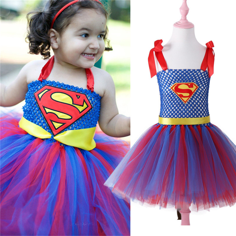 Child Girl Superman Halloween Costume Fancy Tutu Dress Super Children Party Cosplay Costumes Superhero Costumes For Girls Kids