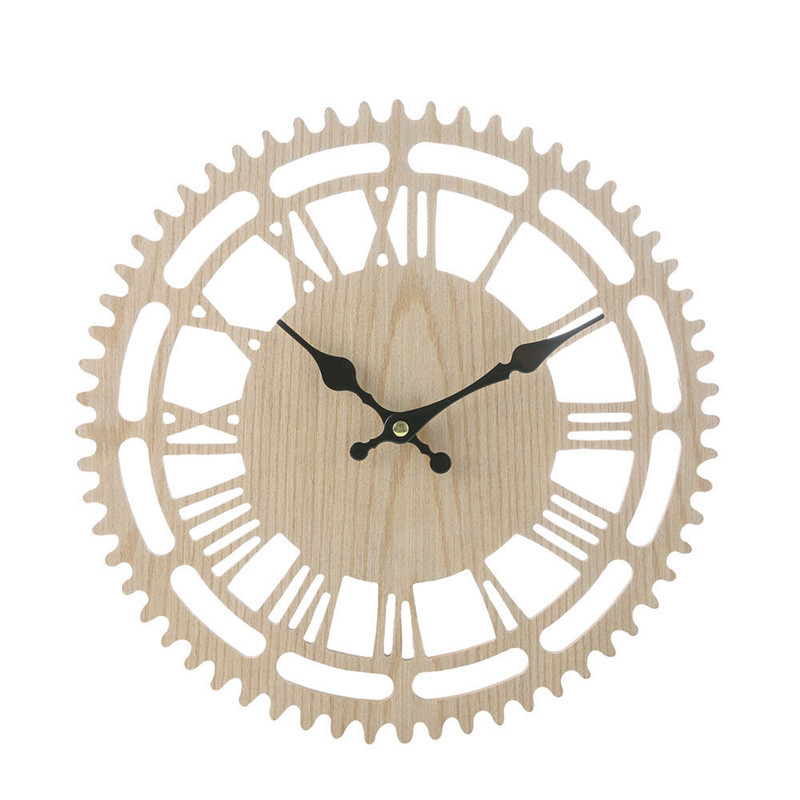 Vintage wall clock large wooden  Rustic Wall Clock Antique Shabby Retro Home Kitchen Room Decor wall clock mechanism 2019