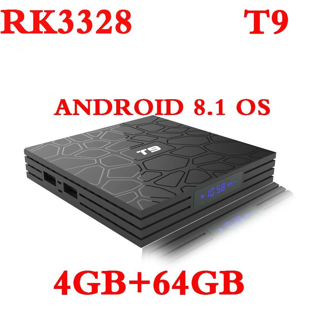 T9 Smart 4 K reproductor de medios Android 8,1 caja de TV T9 4 GB de RAM 32 GB 64 GB ROM RK3328 jugador tienda Youtube Set Top Box PK H96 MAX Plus X2