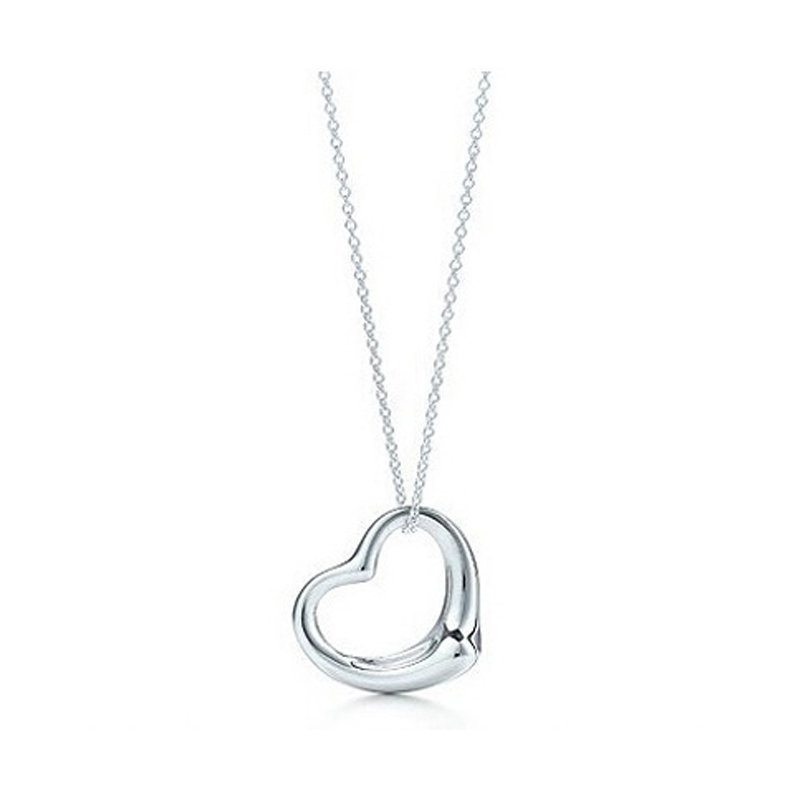 2016 New Popular High-end Jewelry Silver Jewelry Necklace Silver Plated Heart Pendant Necklace x2