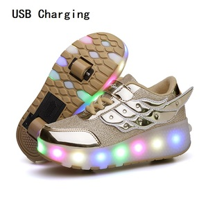 Image 3 - Children One Two Wheels Luminous Glowing Sneakers Gold Pink Led Light Roller Skate Shoes Kids Led Shoes Boys Girls USB Charging