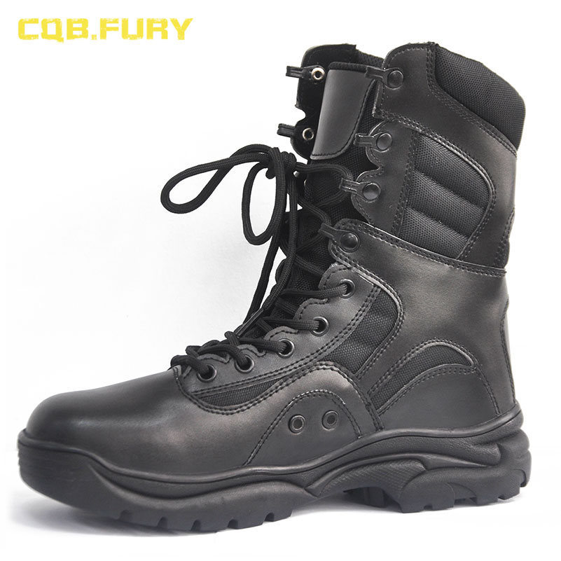 CQB FURY Black Mens Military Tactical Boots Ankle Combat Breathable Army Boots solid lace up leather
