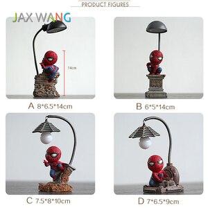 Image 5 - Super Spiderman Avengers Union 3 Led Nacht Licht Harz Handwerk kinder Home Desktop Tisch Lampe Figuren Geburtstag Weihnachten Hochzeit geschenke