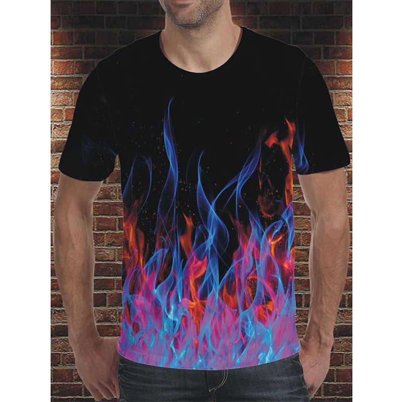 Darshion 赤炎男性 Tシャツ夏カジュアル黒 3d メンズ Tシャツアニメ Tシャツトップヒップホップストリート服半袖 tシャツ