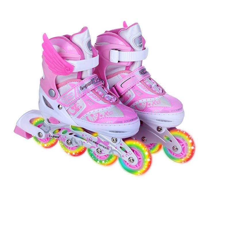 Full Flashing Roller Skate Shoes For Children Inline Daily Street Brush Skating Girls Boys Unisex Adjustable Skating Shoes IB63 ...