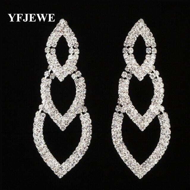 fd095ee2d2c1 Yfjewe moda joyería oro y plata color cristal lleno mujeres agua Pendientes  de gota boda amor