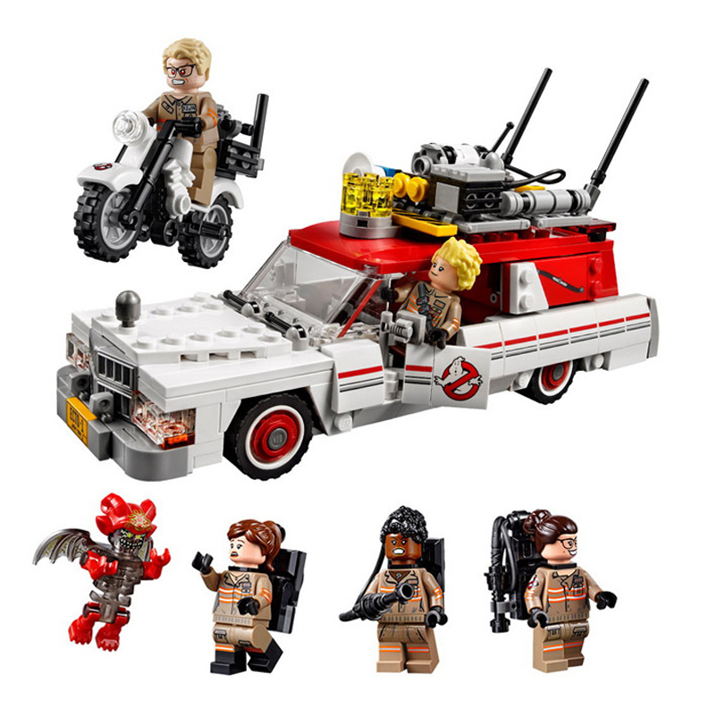 Lepin 16032 586Pcs New Genuine Movie Series The Ghostbusters Ecto-1&2 Set With Legoe Toys Best Blocks Toys Brinquedos Juguetes lepin 16032 586pcs new genuine movie series the ghostbusters ecto 1
