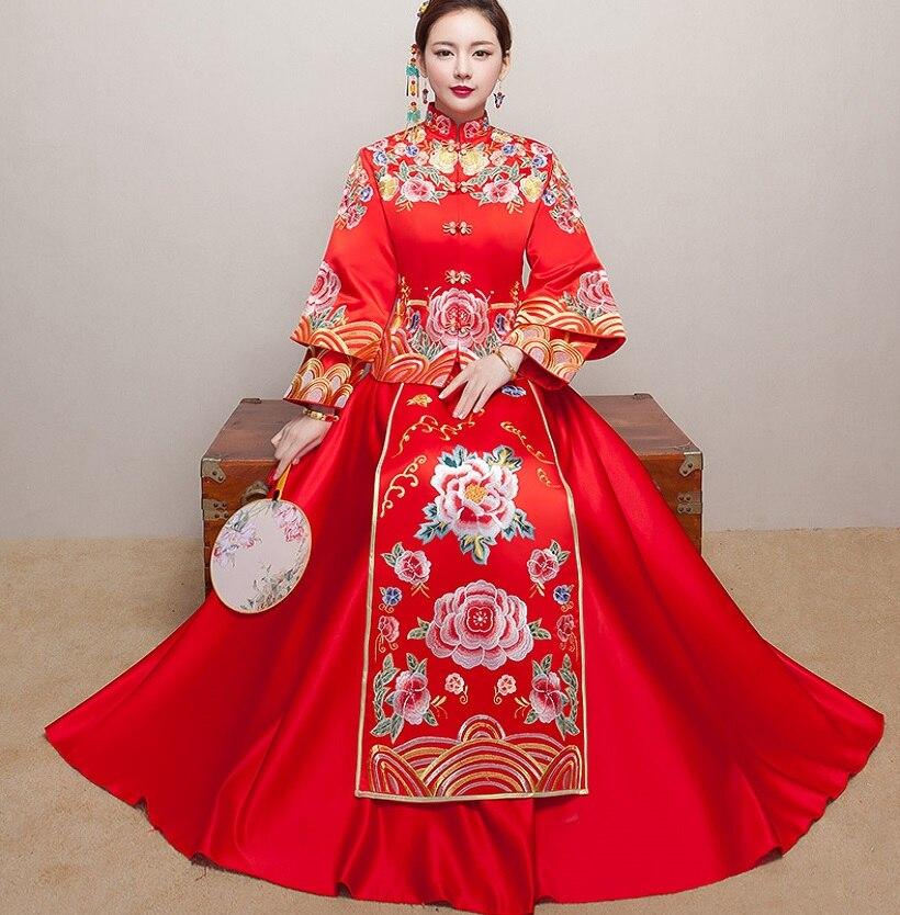 Red Vintage Chinese Kimono Womens Long Qipao Cheongsam Wedding Evening dress SuZhou Embroidery Dress