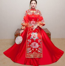 Red Vintage Chinese Kimono Womens Long Qipao Cheongsam Wedding Evening dress SuZhou Embroidery Dress