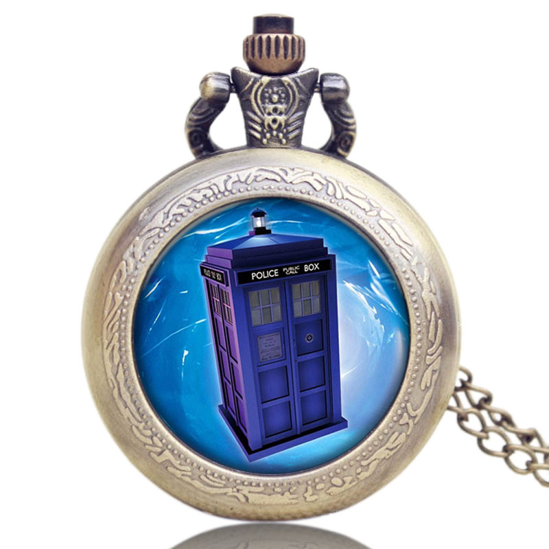 Vintage Bronze Doctor Who Extension Police Box Design Glass Dome Pocket Watch With Necklace Chain