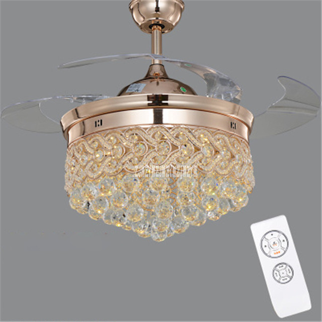 Sya0 modern led chrome crystal ceiling fan bedroom living room sya0 modern led chrome crystal ceiling fan bedroom living room folding ceiling fan remote control decorative mozeypictures Gallery
