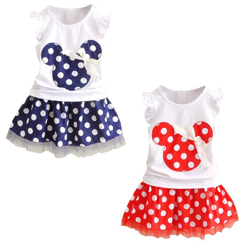 Clothes Set Kids Baby Girls Summer Outfits Clothes Sleeveless T-shirt Tops Polka Dot Tutu Skirt Party