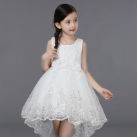 2017 White Lace Princess Skirt Shining Pompry Skirt Tail Irregularly Big Bow Embroidered Pink Purple Red