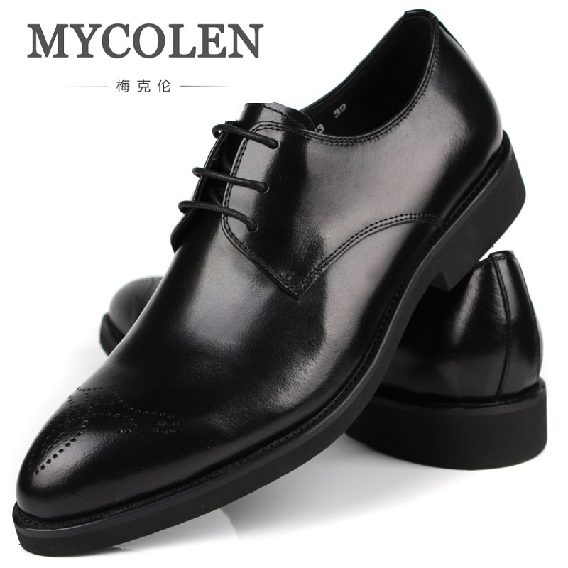 MYCOLEN British Style Brogue Men Formal Shoe Pointed Toe Lace Up Leather Dress Business Shoes Flats Breathable Shoes For Men men fashion business dress genuine leather shoes carved brogue lace up flats shoe breathable comfort loafers moccasins footwear