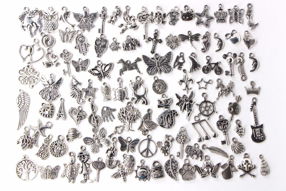 Купить со скидкой 100Pcs/set DIY jewelry making Tibetan Silver Color Connector Bails Mix Beads with Pendant fit Charm