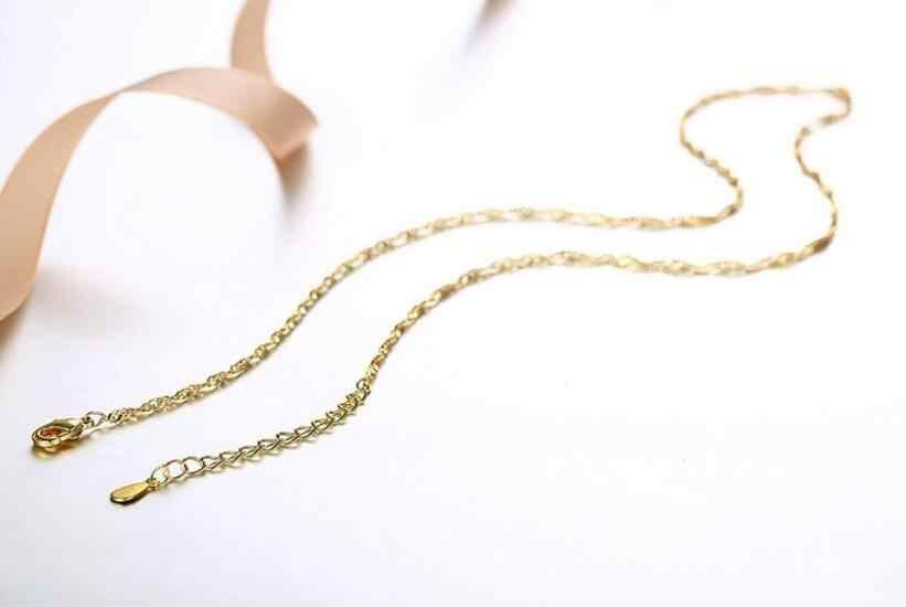 Anenjery 925 เงินสเตอร์ลิงสร้อยคอสำหรับจี้ผู้หญิง Rose Gold สีเหลืองทองเงินสร้อยคอ 40 ซม./45 ซม./50 ซม.