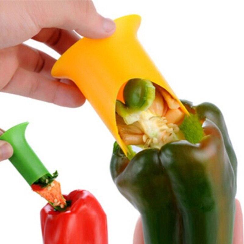 MOSEKO 1set Multifunkční zelený pepř Chili Core Remover Separator Device Plastic Tomato Fruit Vegetable Cutter Kuchyňské nářadí