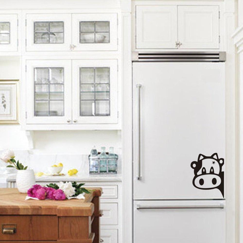 Cute Cow Fridge Sticker Kitchen Cabinet Decoration Cartoon Art Decor