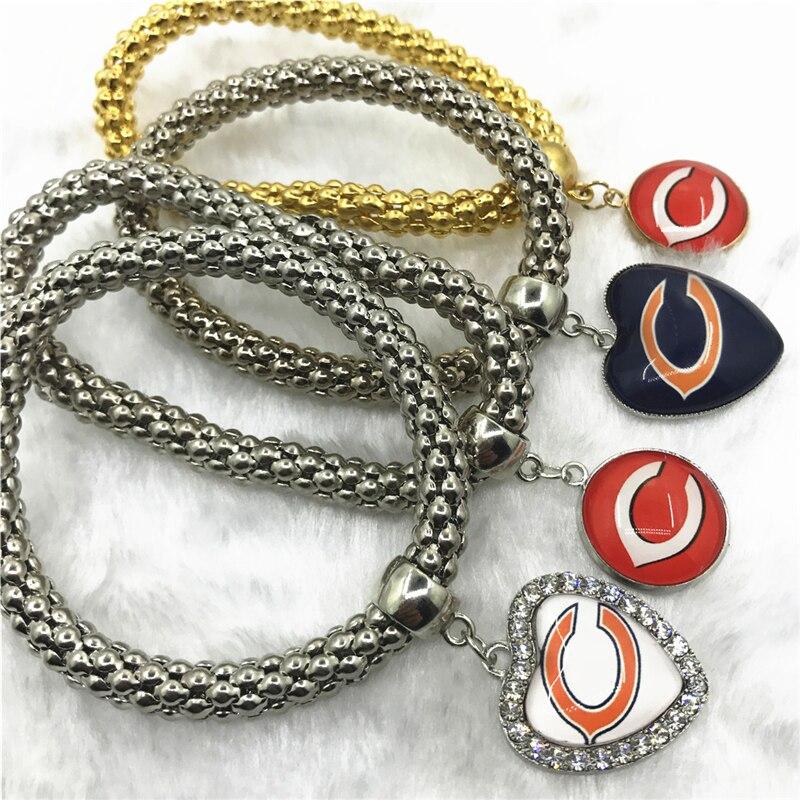 6 шт. Футбол спортивные Chicago Bears Браслеты эластичные змея браслет-цепочка и Браслеты США Вентиляторы браслет ювелирные подвески