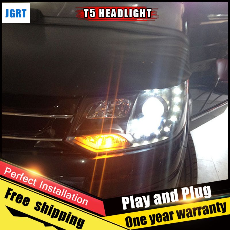 2PCS Car Style LED headlights for vw t5 2010-2014 for t5 head lamp LED DRL Lens Double Beam H7 HID Xenon bi xenon lens 2pcs car style led headlights for vw polo 2011 2017 for vw polo head lamp lens double beam h7 hid xenon bi xenon lens